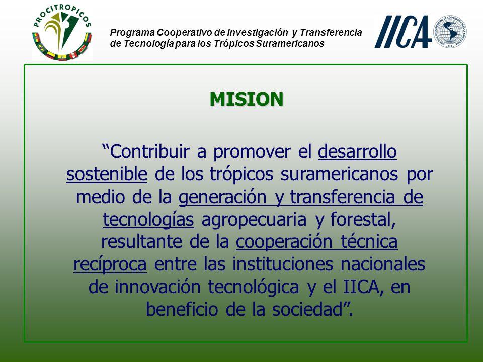 AREA DE ACTUACION: Trópicos Suramericanos Programa Cooperativo de Investigación y Transferencia de Tecnología para los Trópicos Suramericanos