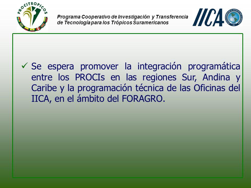 Programa Cooperativo de Investigación y Transferencia de Tecnología para los Trópicos Suramericanos Hace al Futuro...