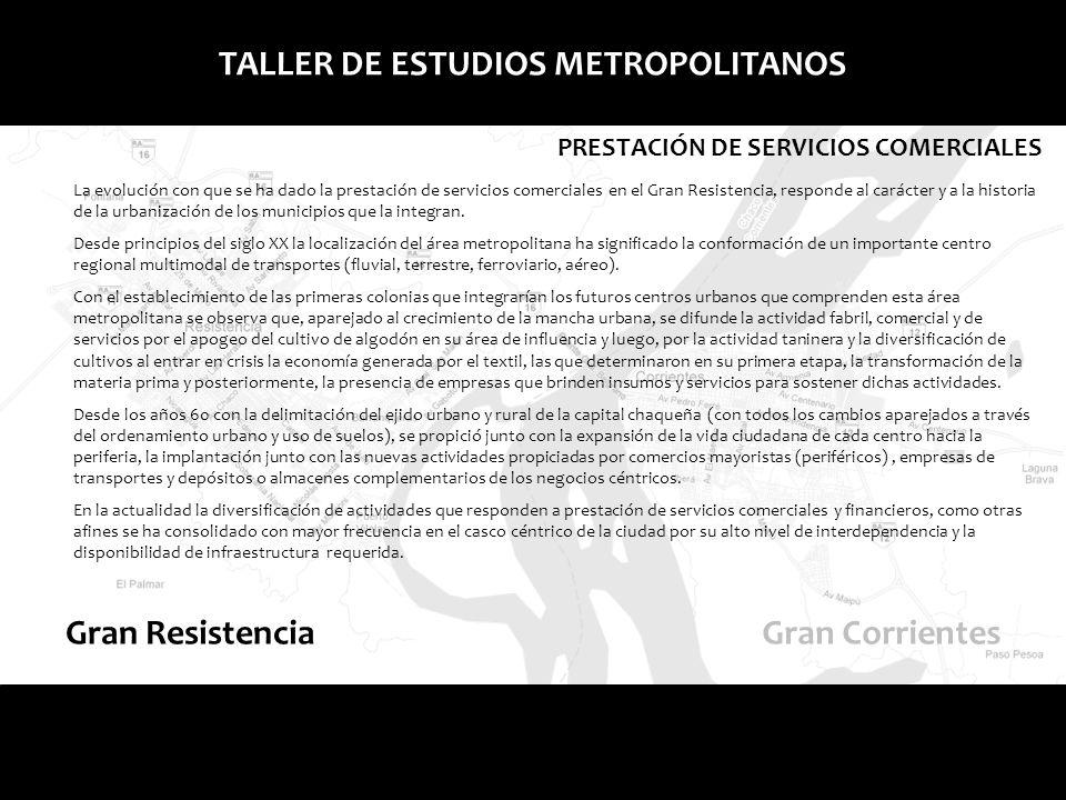 TALLER DE ESTUDIOS METROPOLITANOS PRESTACIÓN DE SERVICIOS COMERCIALES Comercios mayoristas, minoristas y depósitos.