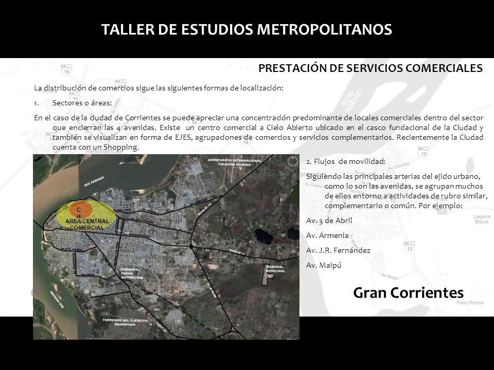 Gran Resistencia TALLER DE ESTUDIOS METROPOLITANOS PRESTACIÓN DE SERVICIOS COMERCIALES Esquema de Corrientes marcando la centralidad.
