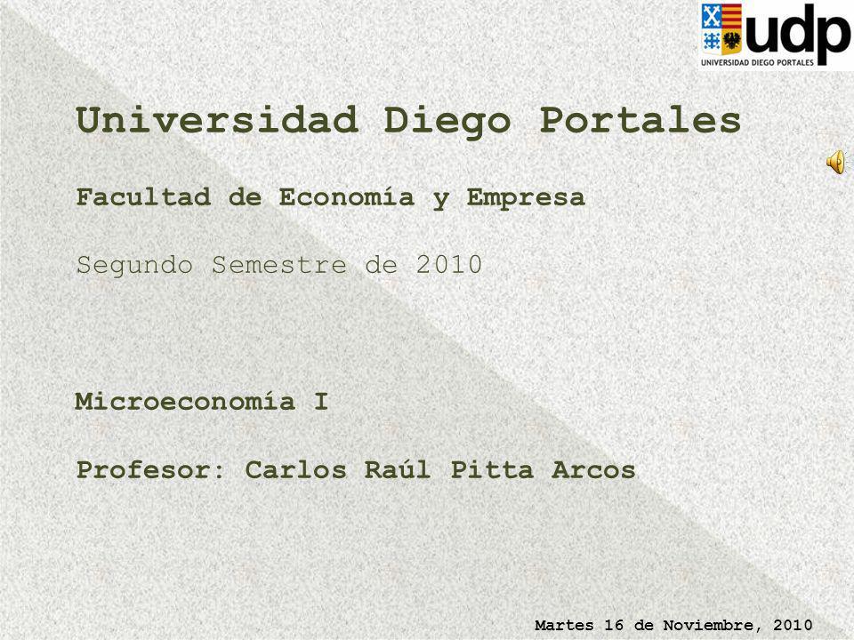 Martes 16 de Noviembre, 2010 Universidad Diego Portales Facultad de Economía y Empresa Segundo Semestre de 2010 Microeconomía I Profesor: Carlos Raúl Pitta Arcos