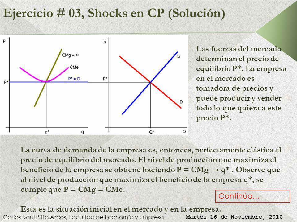 Ejercicio # 03, Shocks en CP (Solución) Carlos Raúl Pitta Arcos, Facultad de Economía y Empresa Martes 16 de Noviembre, 2010 Las fuerzas del mercado determinan el precio de equilibrio P*.