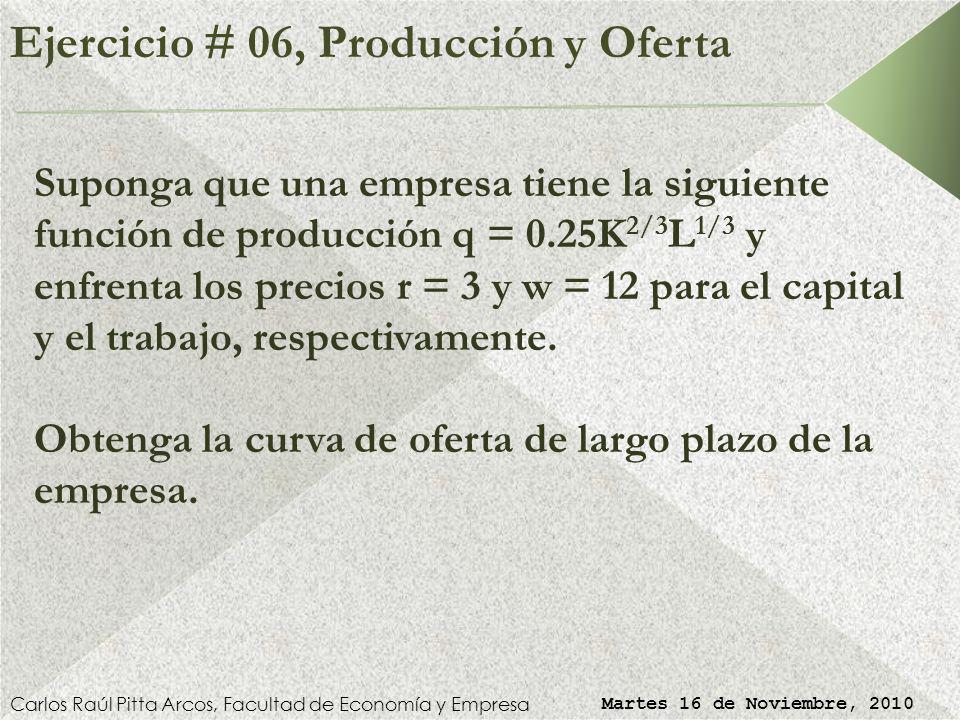 Ejercicio # 06, Producción y Oferta Carlos Raúl Pitta Arcos, Facultad de Economía y Empresa Martes 16 de Noviembre, 2010 Suponga que una empresa tiene la siguiente función de producción q = 0.25K 2/3 L 1/3 y enfrenta los precios r = 3 y w = 12 para el capital y el trabajo, respectivamente.