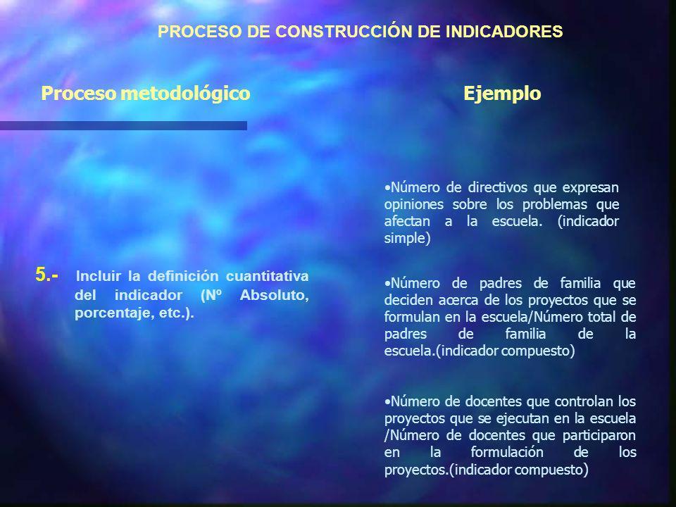 PROCESO DE CONSTRUCCIÓN DE INDICADORES 5.- Incluir la definición cuantitativa del indicador (Nº Absoluto, porcentaje, etc.).