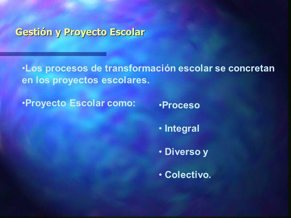 Gestión y Proyecto Escolar Los procesos de transformación escolar se concretan en los proyectos escolares.