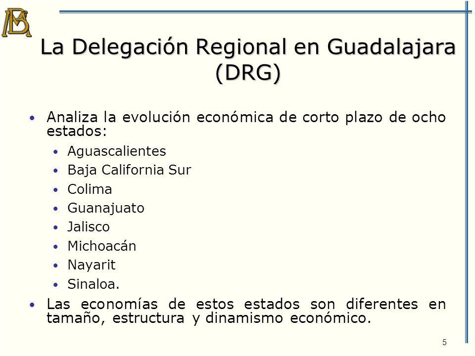 6 PIB de los ocho estados que corresponden a la DRG En 2002, el PIB conjunto de los ocho estados que corresponden a la DRG equivalía a 17% del PIB de México.