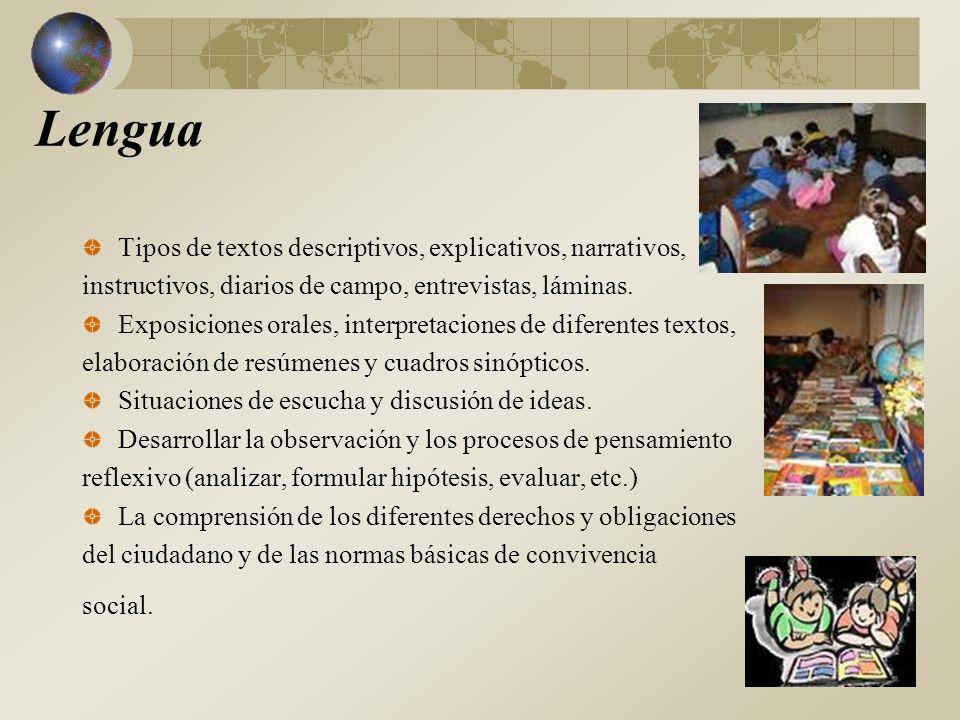 Ciencias Naturales y Sociales Ambientes: tipos, caracterización, comparación con otros ecosistemas, interrelaciones.