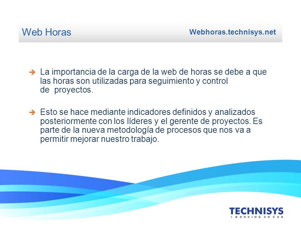 Web Horas Webhoras.technisys.net Las horas cargadas se usan para realizar la facturación mensual.