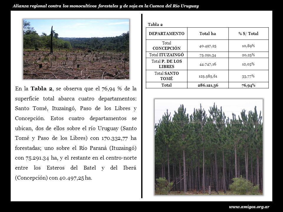 Desde el punto de vista de la concentración de plantaciones, su ubicación geográfica y por el desenvolvimiento de la actividad forestal; en la provincia se reconocen cuatro cuencas de producción.