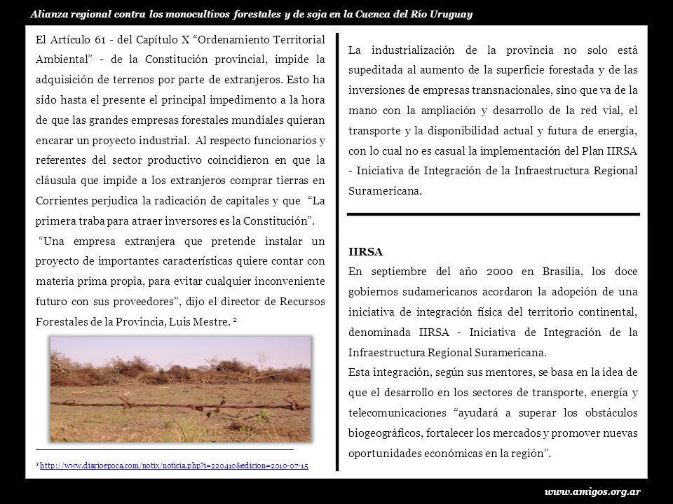 www.amigos.org.ar Alianza regional contra los monocultivos forestales y de soja en la Cuenca del Río Uruguay participado en el proceso de definición del concepto de integración regional en el contexto de IIRSA.