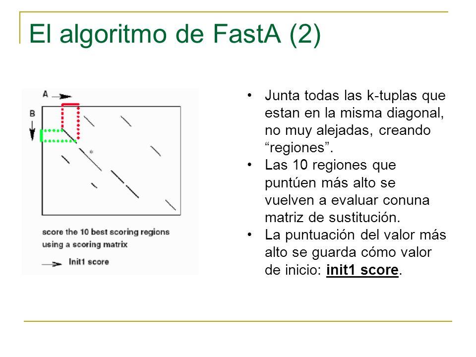 El algoritmo de FastA (3) Se determina si las regiones iniciales de las diversas diagonales pueden unirse para formar un alineamiento aproximado con gaps.