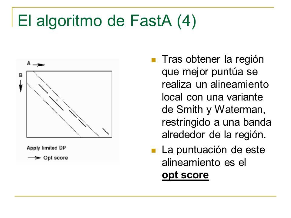 Parámetros de entrada Los habituales para un alineamiento: Tipo de secuencia /B.