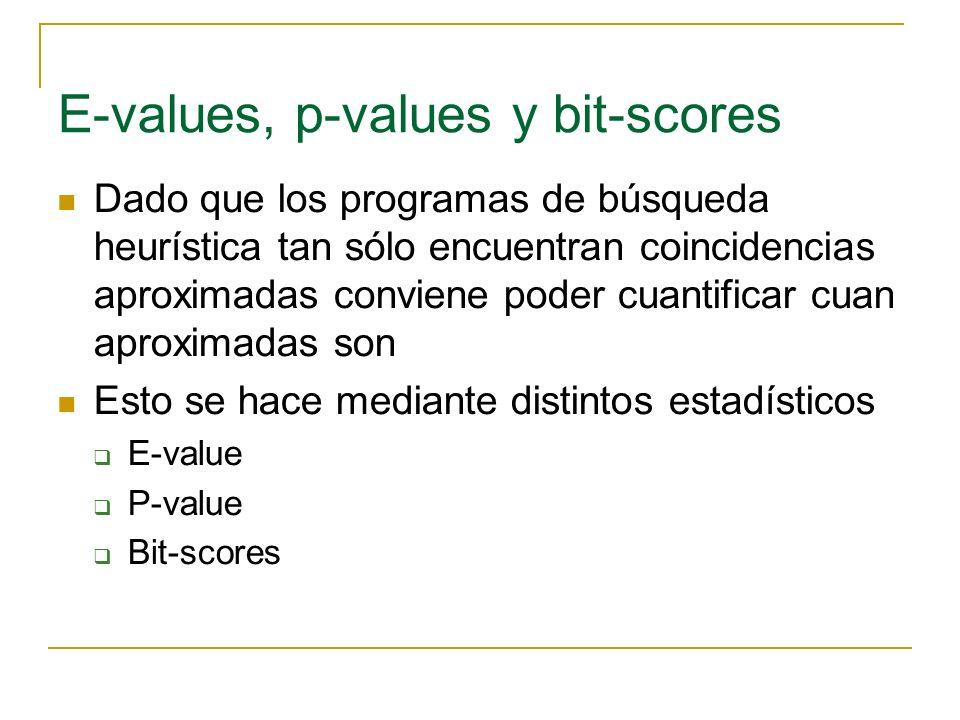 E-values Dada una secuencia que ha obtenido una puntuacion E-value es el número esperado de puntuaciones iguales o superiores a las de dicha secuencia atribuibles al azar.