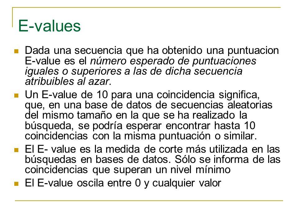P-values Refleja la probabilidad de obtener por azar una puntuación superior o igual a la observada Se relaciona con el E-value en que: P=1-e -E Un P-valor de 0.03 significa que hay una probabilidad (>=) 3% de encontrar una puntuación superior a la observada simplemente por azar Si E<0,01 Los P-valores y los E-valores son similares Los p-valores oscilan entre 0 y 1