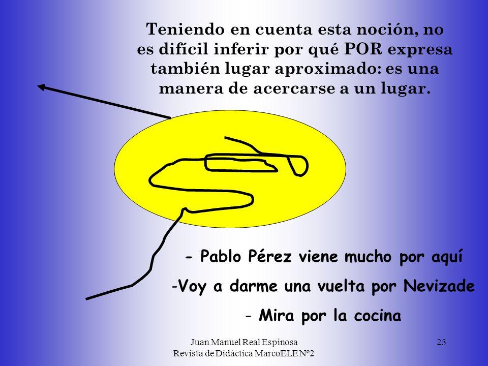 Juan Manuel Real Espinosa Revista de Didáctica MarcoELE Nº2 23 - Pablo Pérez viene mucho por aquí - -Voy a darme una vuelta por Nevizade - - Mira por la cocina Teniendo en cuenta esta noción, no es difícil inferir por qué POR expresa también lugar aproximado: es una manera de acercarse a un lugar.