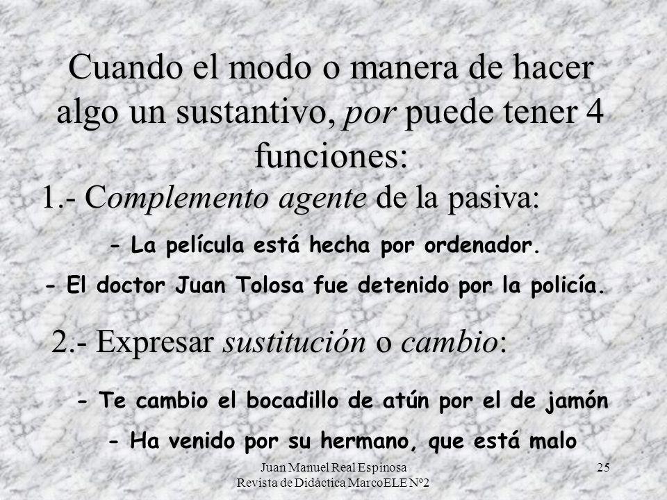 Juan Manuel Real Espinosa Revista de Didáctica MarcoELE Nº2 25 Cuando el modo o manera de hacer algo un sustantivo, por puede tener 4 funciones: - La película está hecha por ordenador.