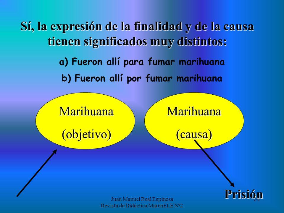 Juan Manuel Real Espinosa Revista de Didáctica MarcoELE Nº2 38 Sí, la expresión de la finalidad y de la causa tienen significados muy distintos: a) Fueron allí para fumar marihuana Marihuana(objetivo) Prisión b) Fueron allí por fumar marihuana Marihuana(causa)