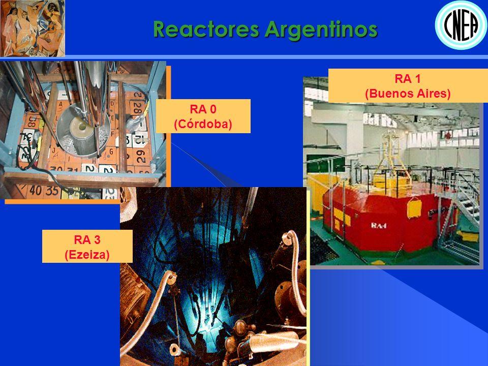 RA 6 (Bariloche) RA 8 (Pilcaniyeu) RA 4 (Rosario) Reactores Argentinos
