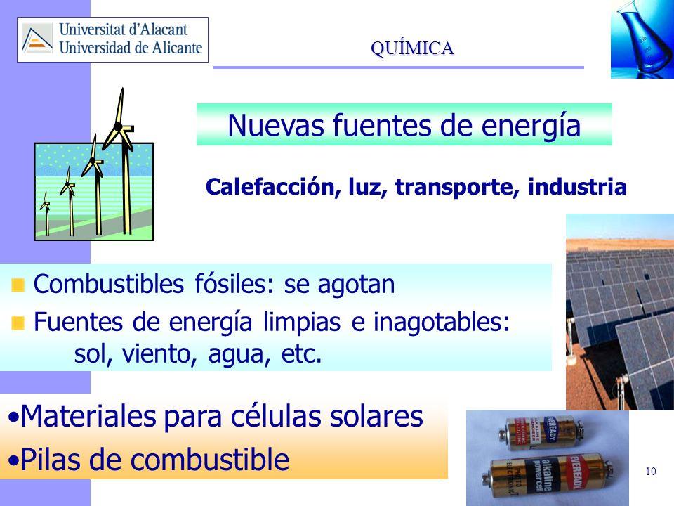 QUÍMICA 11 Conservación del planeta Control del medio ambiente Limpieza y conservación Procesos industriales limpios Reciclado Materias primas renovables