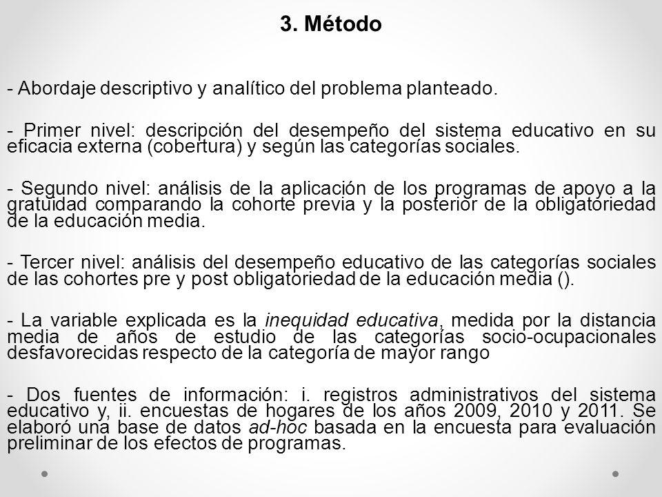 4. Hallazgos principales 4.1. La escolarización en el periodo analizado: 2008-2011