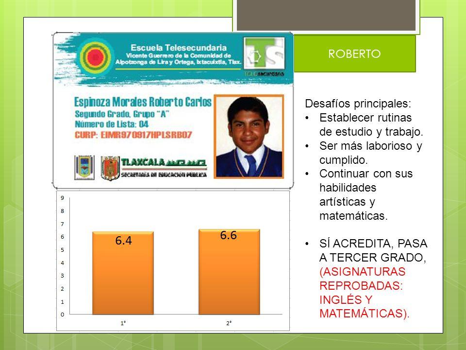 MICHEL Desafíos principales: Mejorar su actitud al inglés y las matemáticas.