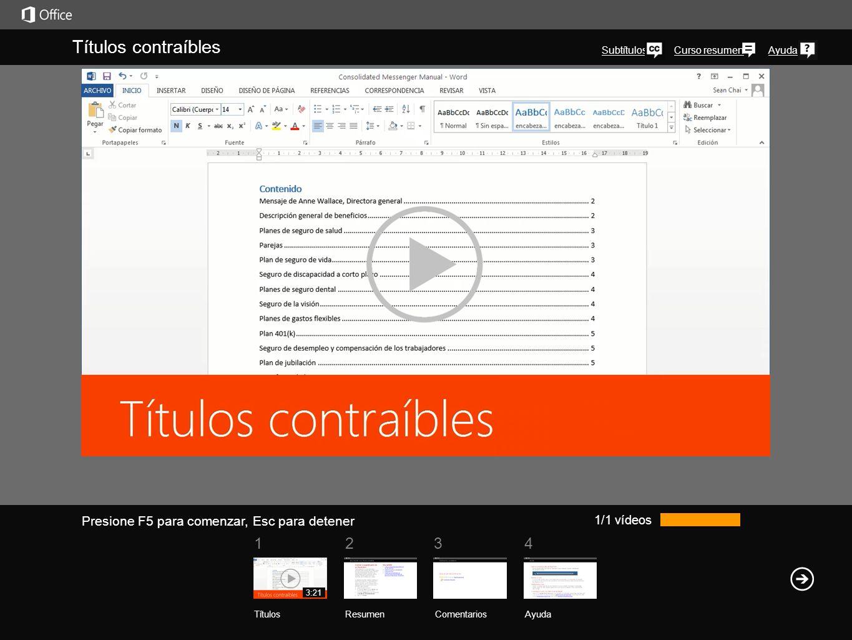 Ayuda Resumen del curso Presione F5 para comenzar, Esc para detener Resumen del curso: Títulos contraíbles ResumenComentarios Ayuda 1234 Títulos Vea también Crear un esquema de documento en la vista EsquemaCrear un esquema de documento en la vista Esquema Sugerencias para la vista EsquemaSugerencias para la vista Esquema Cursos de Office Módulo de compatibilidad de Microsoft Office para formatos de archivos de Word, Excel y PowerPointMódulo de compatibilidad de Microsoft Office para formatos de archivos de Word, Excel y PowerPoint Contraer o expandir partes de un documento Si está trabajando en un documento largo y complicado, puede contraerlo todo excepto la parte en la cual se quiere concentrar.