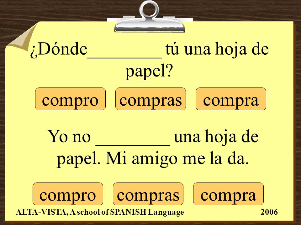 ¿Dónde________ tú una hoja de papel.Yo no ________ una hoja de papel.