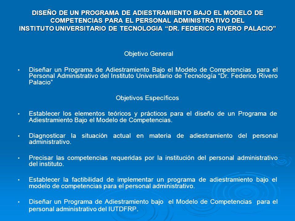 DISEÑO DE UN PROGRAMA DE ADIESTRAMIENTO BAJO EL MODELO DE COMPETENCIAS PARA EL PERSONAL ADMINISTRATIVO DEL INSTITUTO UNIVERSITARIO DE TECNOLOGIA DR.