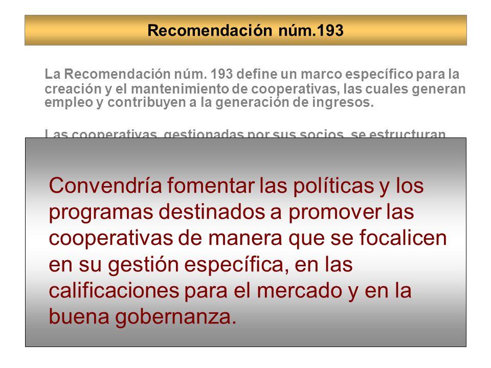 Recomendación núm.193 La Recomendación núm.