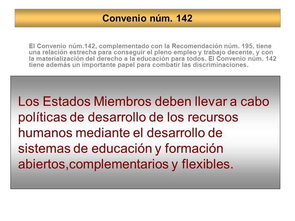 El Convenio núm.142, complementado con la Recomendación núm.