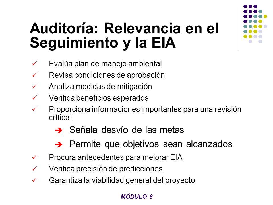 Interacción de la Auditoría y la EIA El seguimiento y la auditoria convierten la EIA en un proceso interactivo MÓDULO 8