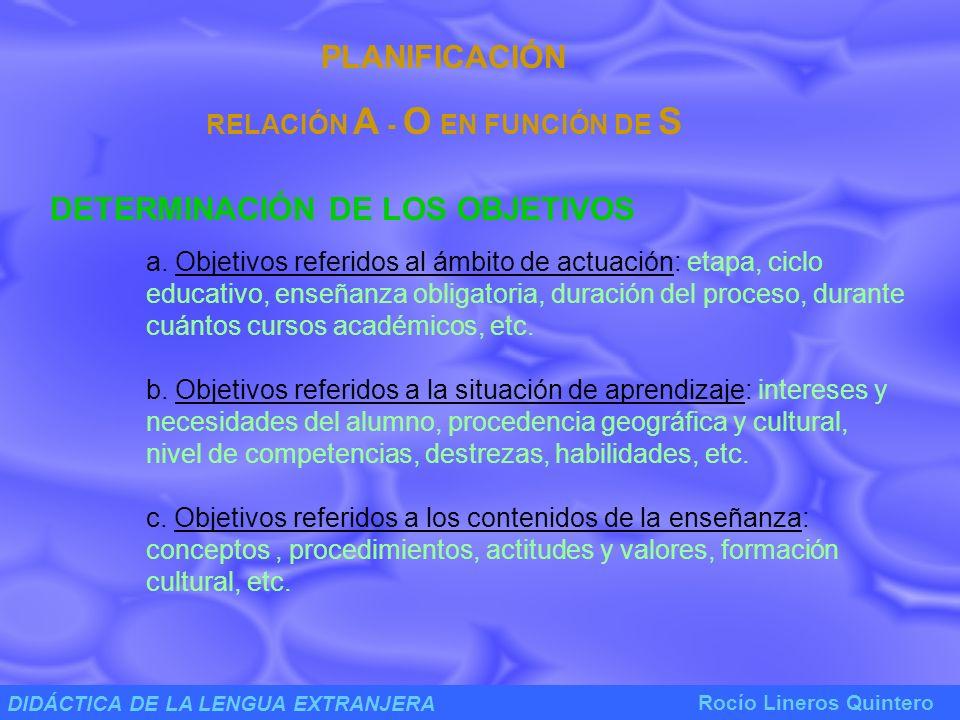 DIDÁCTICA DE LA LENGUA EXTRANJERA Rocío Lineros Quintero PLANIFICACIÓN RELACIÓN A - O EN FUNCIÓN DE S SELECCIÓN, ORGANIZACIÓN Y PRESENTACIÓN DEL CONTENIDO a.