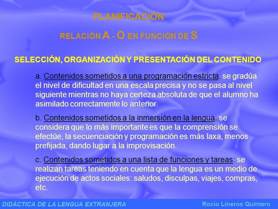 DIDÁCTICA DE LA LENGUA EXTRANJERA Rocío Lineros Quintero ACTUACIÓN EN EL AULA PUESTA EN PRÁCTICA DE LA RELACIÓN DE ENSEÑANZA ( A - S ) PUESTA EN PRÁCTICA DE LA RELACIÓN DE APRENDIZAJE ( S - O ) o VISIÓN TRADICIONAL DE LA ENSEÑANZA-APRENDIZAJE LENGUA: conjunto de vocabulario + reglas de funcionamiento.