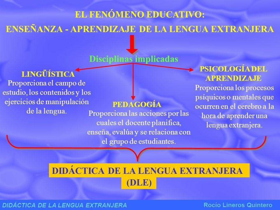 DIDÁCTICA DE LA LENGUA EXTRANJERA Rocío Lineros Quintero DLE / Constituye una disciplina científica joven.
