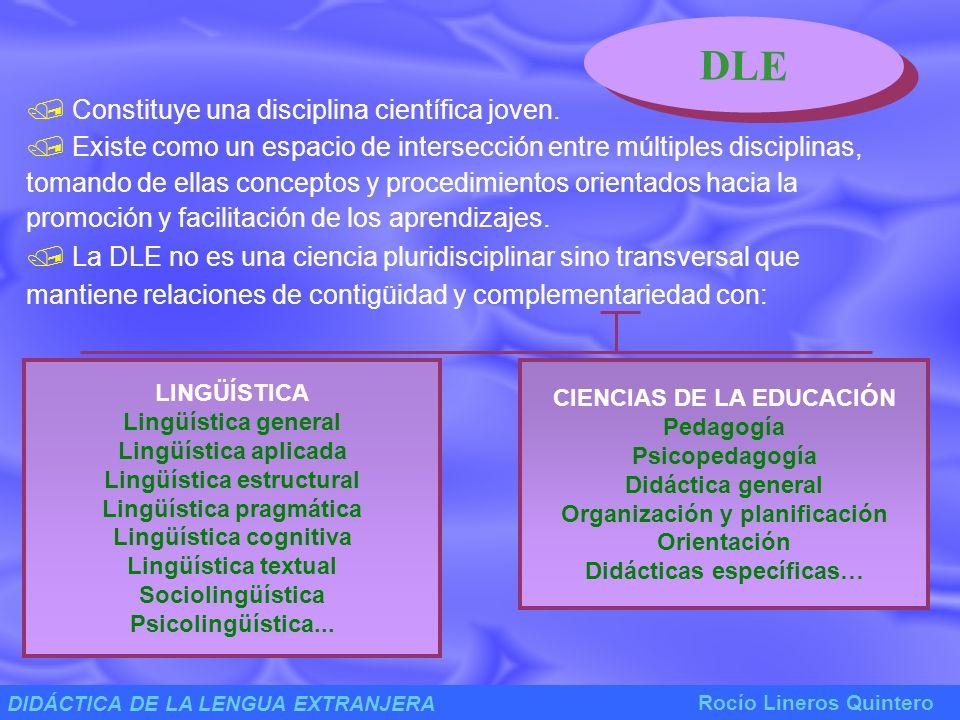 DIDÁCTICA DE LA LENGUA EXTRANJERA Rocío Lineros Quintero LA DLE EN CONTEXTOS ESCOLARES La enseñanza de la DLE se corresponde con la actividad de aprendizaje realizada por un grupo de alumnos en un contexto determinado.