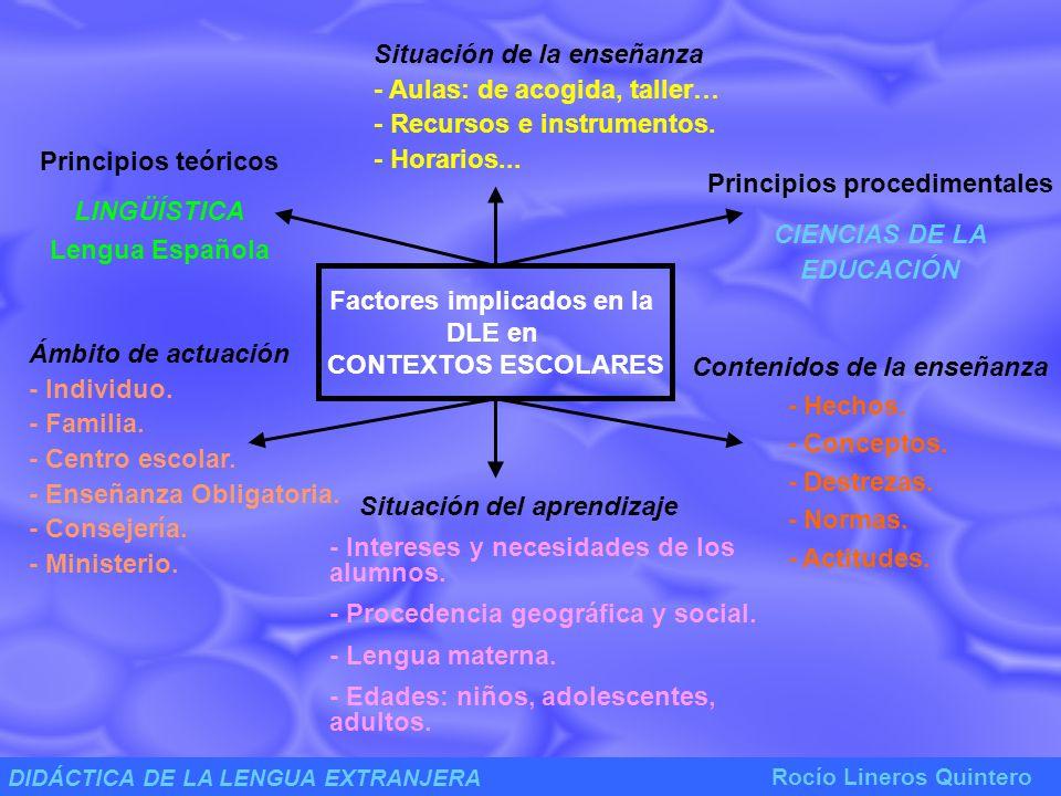 DIDÁCTICA DE LA LENGUA EXTRANJERA Rocío Lineros Quintero ÁMBITOS DE ACTUACIÓN DE LA DLE SUJETO (s) AGENTE (A) OBJETO (O) Fijación, selección y organización de los objetivos y contenidos.