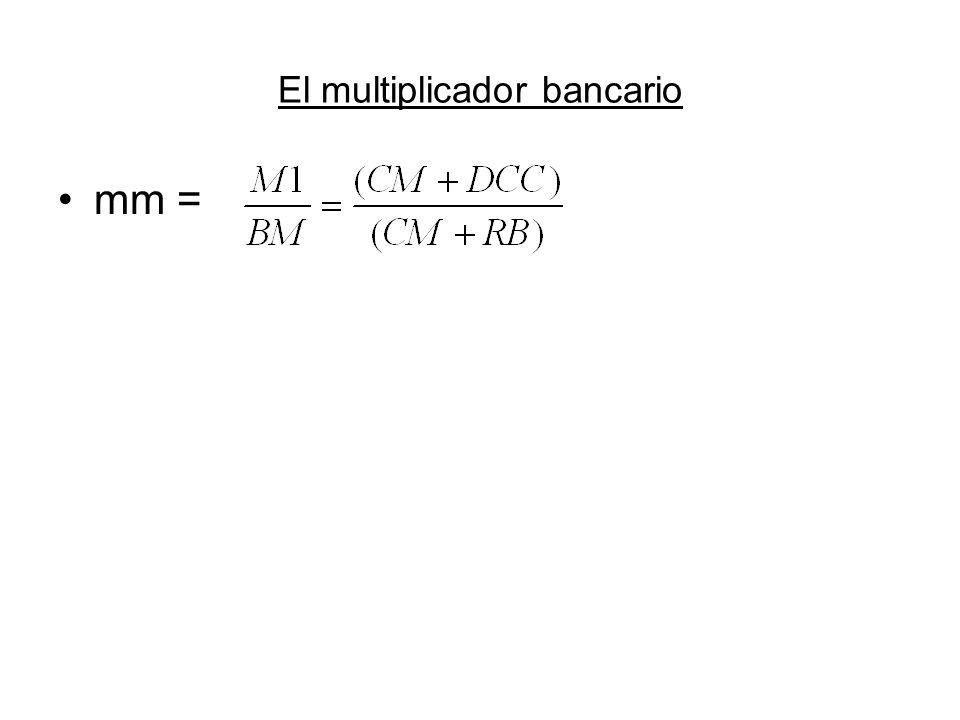 BM: base monetaria CM: circulación monetaria en manos del público DCC: depósitos en cuenta corriente RB: reservas bancarias Si dividimos el numerador y el denominador por DCC, y llamamos c al cociente CM/DCC y llamamos r al cociente entre RB y DCC tenemos: