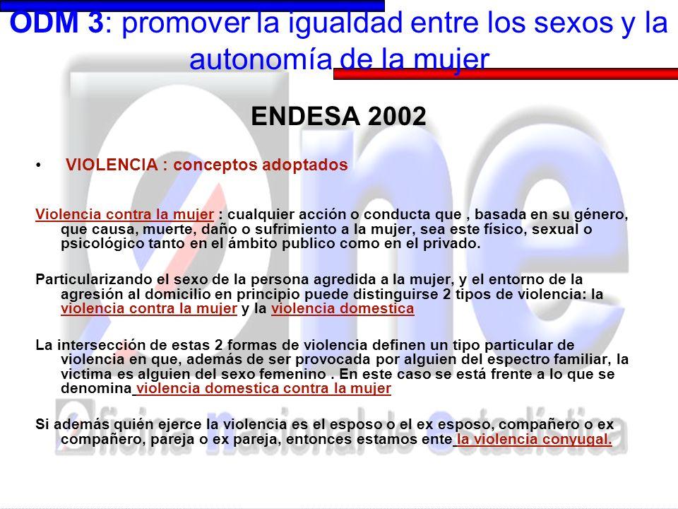 ODM 3: promover la igualdad entre los sexos y la autonomía de la mujer ENDESA 2002 MODULO VIOLENCIA DOMESTICA: salidas.