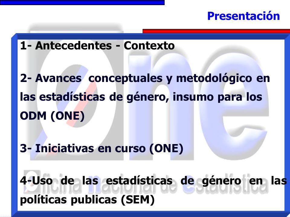 1- Antecedentes - Contexto 2- Avances conceptuales y metodológico en las estadísticas de género, insumo para los ODM (ONE) 3- Iniciativas en curso (ONE) 4-Uso de las estadísticas de género en las políticas publicas (SEM) Presentación