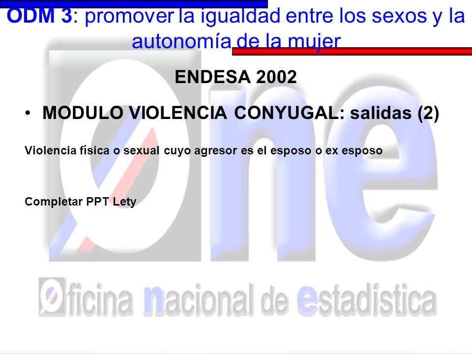 ODM 3: promover la igualdad entre los sexos y la autonomía de la mujer APROVECHAMIENTO DE REGISTROS POLICIALES Registro de muertes en condición de violencia : edad de la victima, fecha del hecho, relación de parentesco con agresor, tipo de motivo de violencia (robo/riña/pasional/otros)