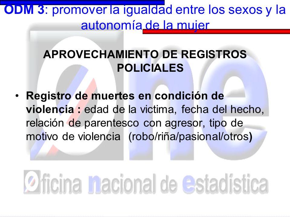 ODM 3: promover la igualdad entre los sexos y la autonomía de la mujer APROVECHAMIENTO DE REGISTROS POLICIALES: salidas Ver presentación Lety