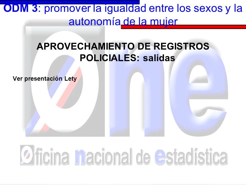 ODM 3: promover la igualdad entre los sexos y la autonomía de la mujer ENHOGAR 2006 Enfocada a medir información sobre mujer, niños, niñas y adolescentes.