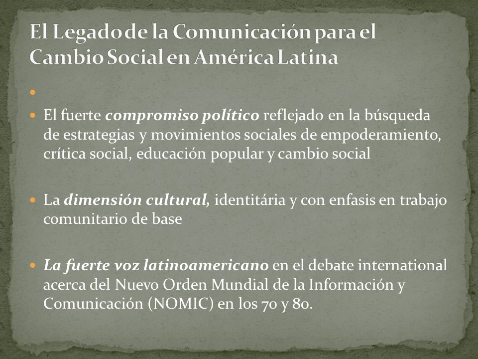Radio Sutatenza (Colombia, 1947) Radios Mineros (Bolivia, 1949) La proliferación de comunicación alternativa, popular, comunitaria, ciudadana, radical, de empoderamiento..