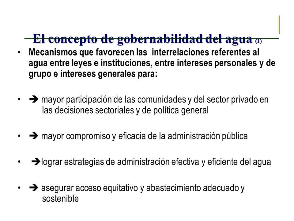 El concepto de gobernabilidad del agua (2) solucionar mejor los conflictos.