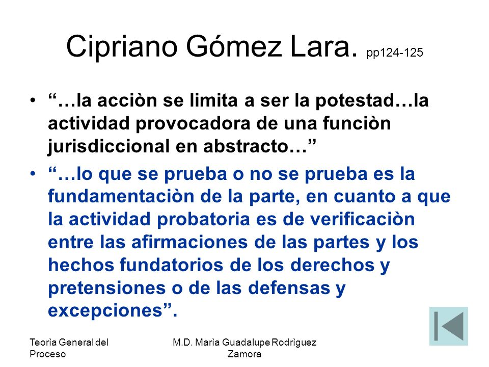Teorìa General del Proceso M.D.Marìa Guadalupe Rodrìguez Zamora Instancia proyectiva.
