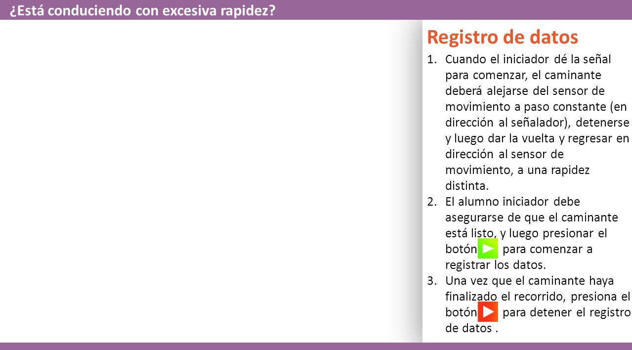 Registro de datos 1.La segunda pareja de iniciador y caminante trabajará en equipo para realizar un gráfico de posición y velocidad vs.
