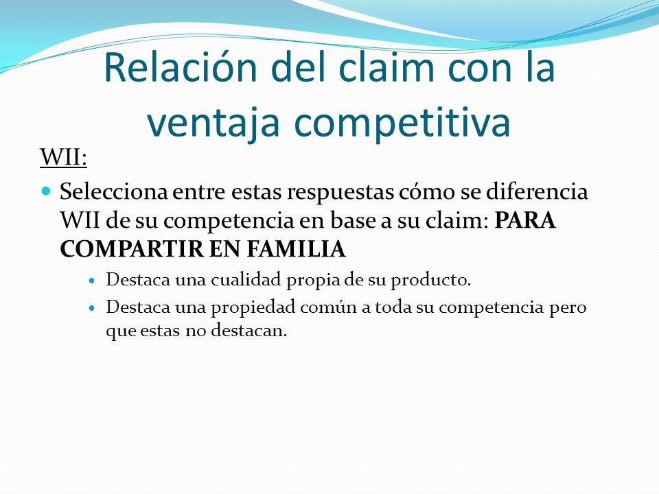 Relación del claim con la ventaja competitiva WII: Respuesta: Destaca una propiedad común a toda su competencia pero que estas no destacan.