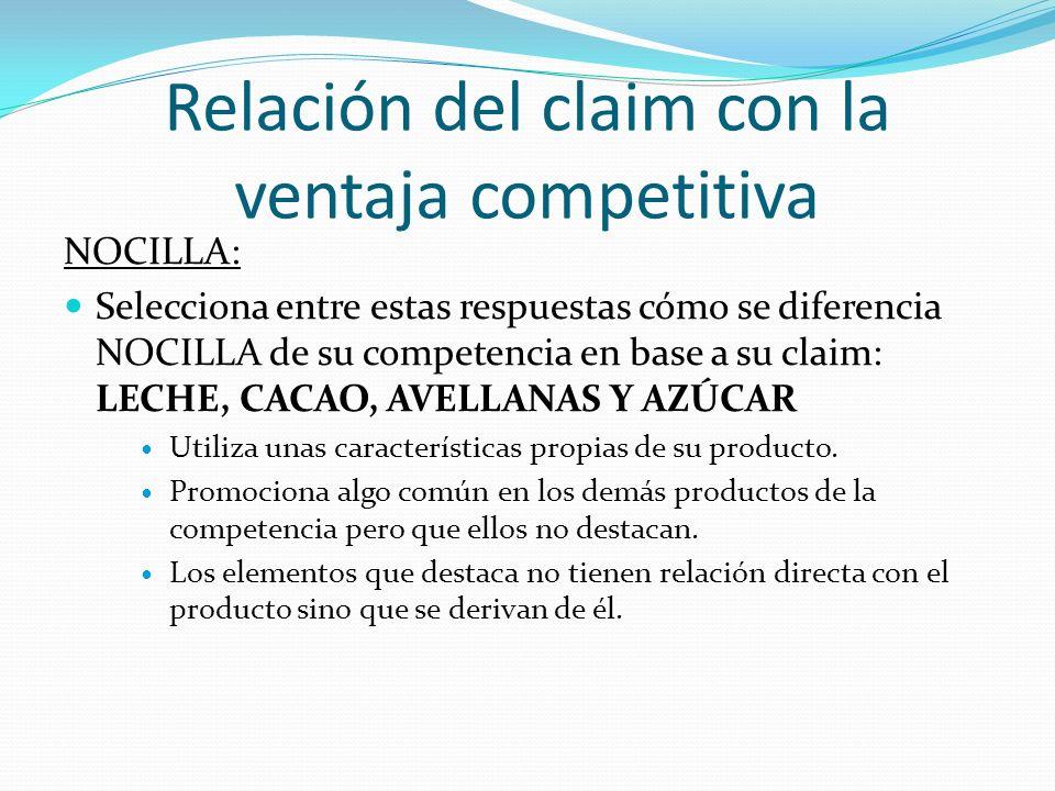 Relación del claim con la ventaja competitiva NOCILLA: Respuesta: Promociona algo común en los demás productos de la competencia pero que ellos no destacan.