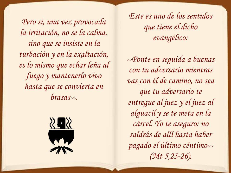Pero si, una vez provocada la irritación, no se la calma, sino que se insiste en la turbación y en la exaltación, es lo mismo que echar leña al fuego y mantenerlo vivo hasta que se convierta en brasas >>.