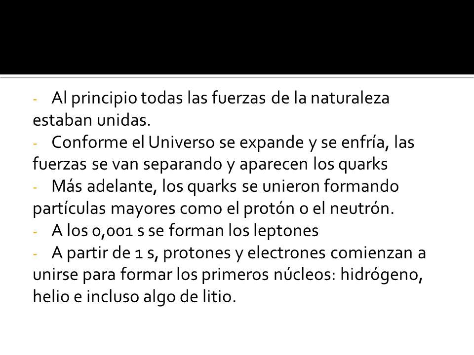 La formación del átomo Entre 1 s y 300 000 años se forman los núcleos anteriormente citados.